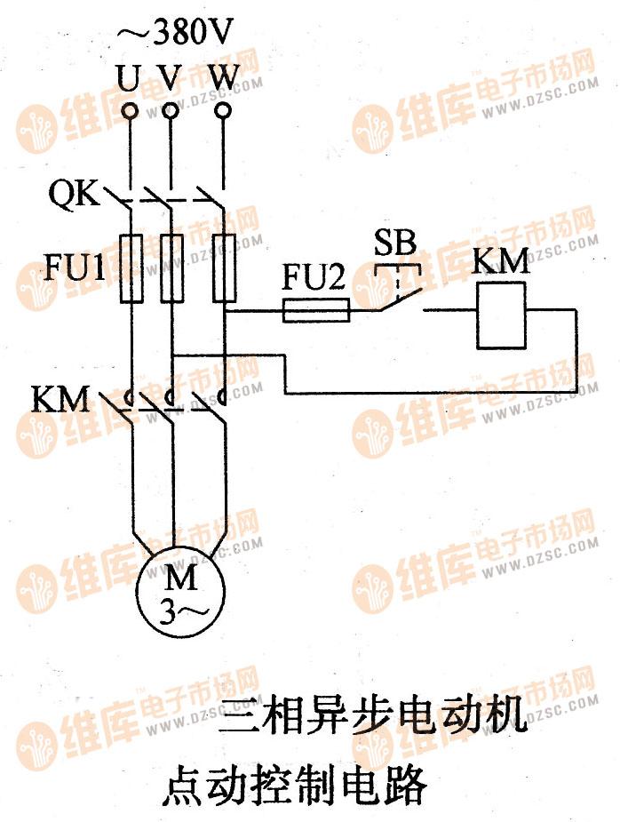 三相异步电动机点动控制电路电机控制专区 电路图 捷配电子市场网图片