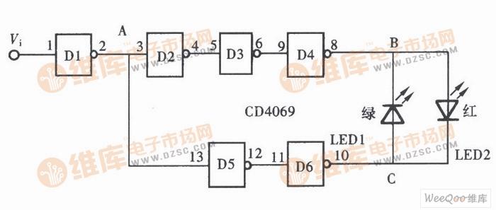 电路图 检测电路 >> 逻辑检测探头电路图