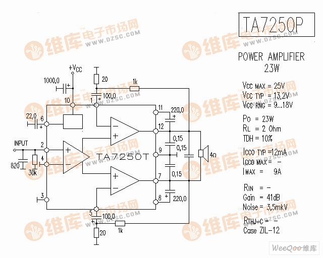 TA7250T 音响IC电路图