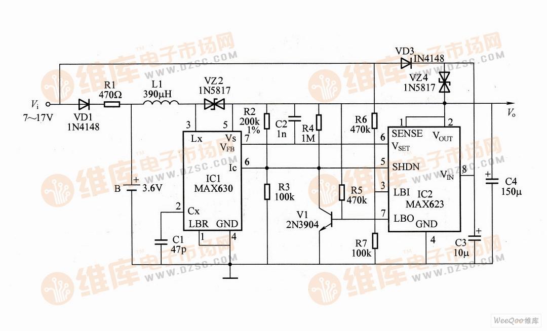 微功耗5V不间断电源电路图