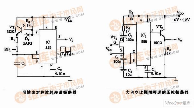 555可输出对称波的多谐振荡器电路图-555充放电时间独立可调的振荡