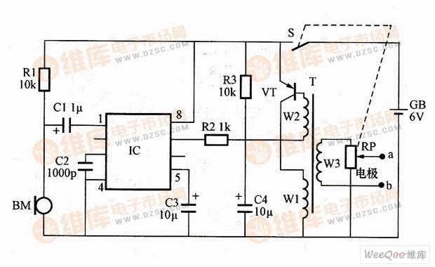 利用NIM2027D构成的电子止鼾器电路图