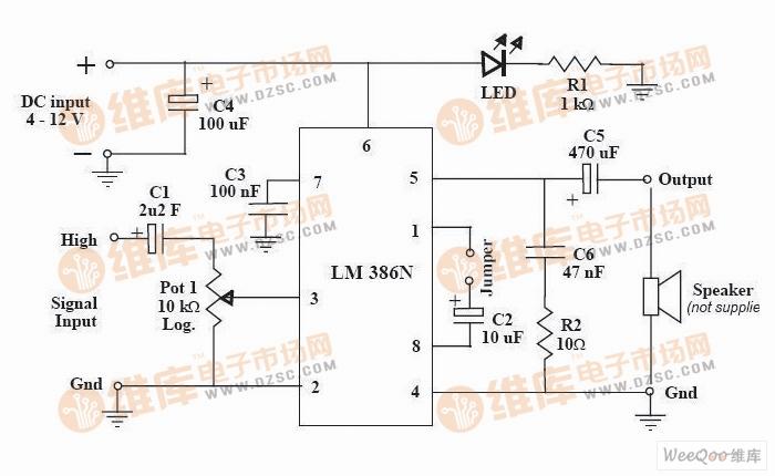 【图】简易功率放大器电路图集成音频放大