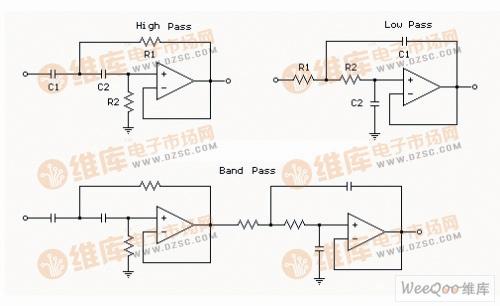 二阶滤波器使用运算放大器电路图-运放器构成的带通滤波器图图片