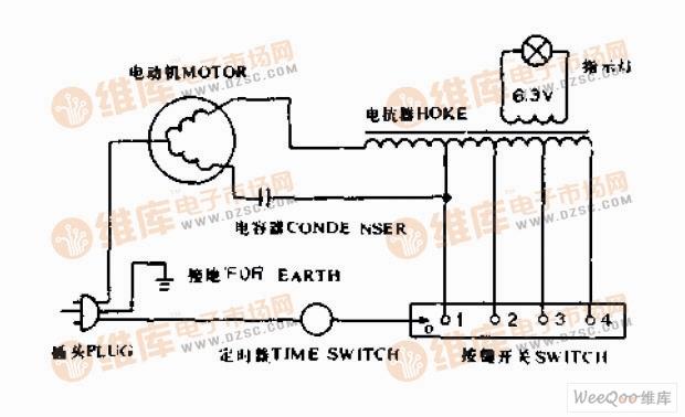 普通电风扇接线电路