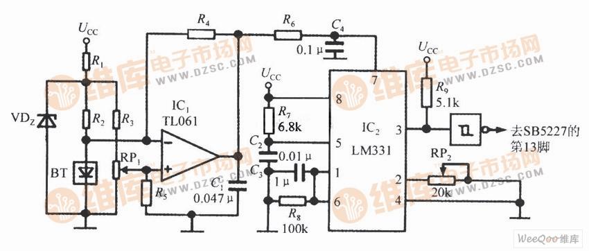 由SB5527构成的温度检测电路图