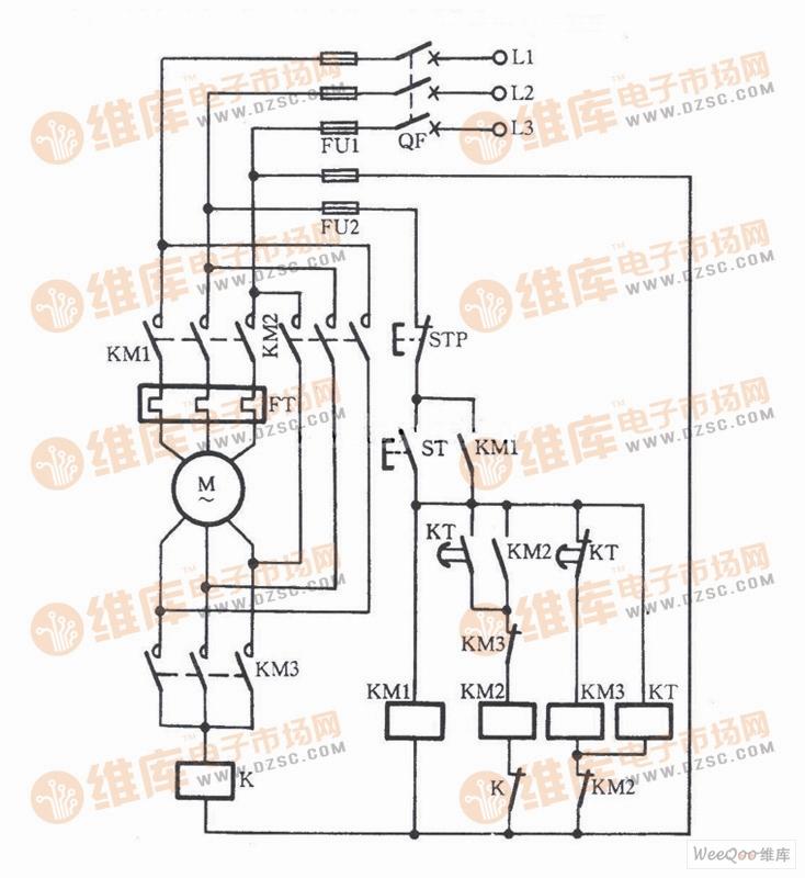 使用中间继电器防飞弧短路的启动电路图