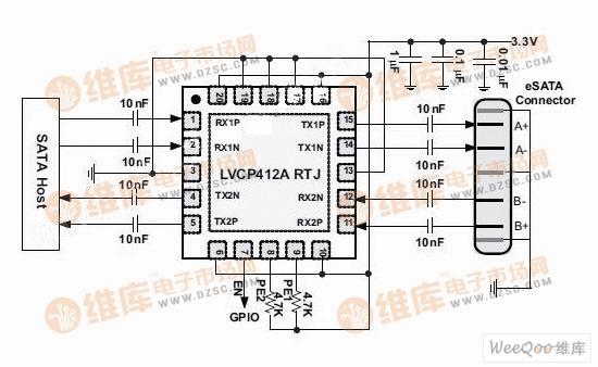 用SN75LVCP412A组成的SATA/eSATA接口驱动电路图