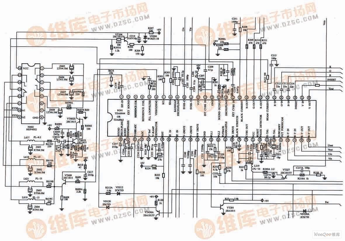 长虹CH-10DR机芯(H29D80)电视机单片小信号处理电路图