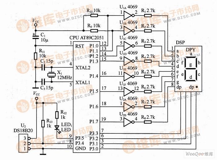 家用测温系统电路图