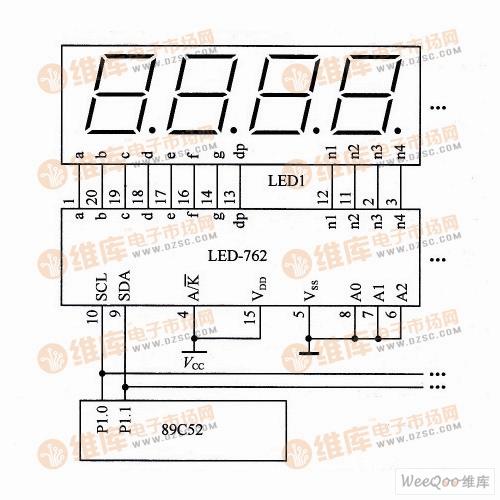 定制的4位7段LED显示驱动电路原理图