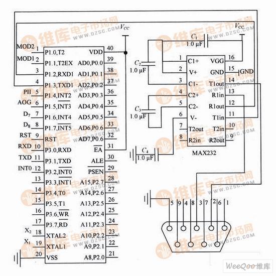 调制解调器与电脑接口电路图