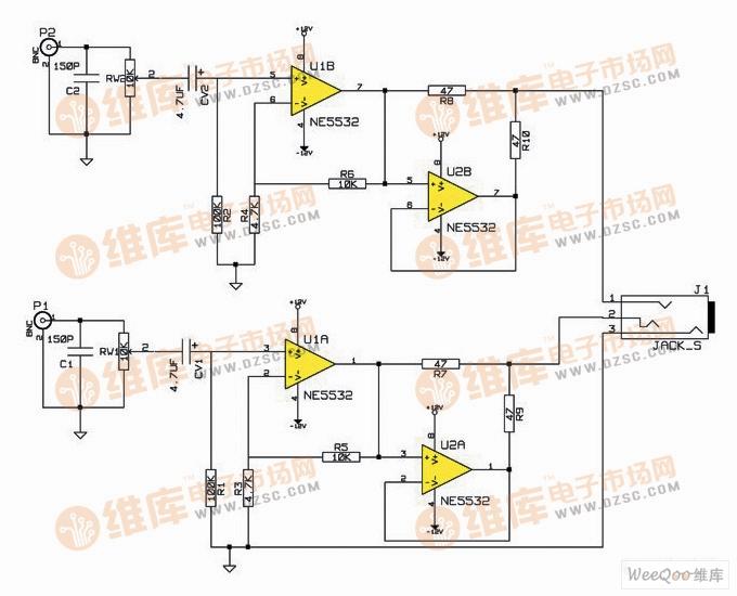 利用NE5532制作简单音质好的47耳放电路