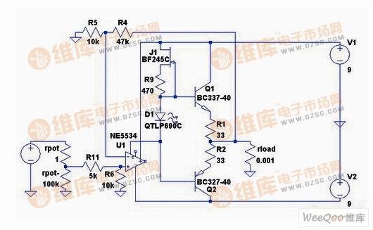 自制简单NE5534推动晶体管的耳放电路图