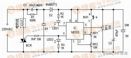 【图】555组成的电热毯温控器电路图555电路专集