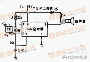 由555组成的感光式振荡电路
