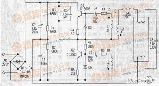 镇流器荧光灯电路   如图为电子镇流器荧光灯电路。市电经D1-D4整流后,由C1、C2分压、滤波得到2150V左右的电源。在第一个电路中:电源经R3、R2对C3充电,当C3两端电压达到18V后,D7导通,Q2正偏导通,经振荡变压器B耦合,当Q2由导通变为截止时,Q1则由截止变为导通。这样Q1、Q2交替工作形成振荡状态。振荡信号经L3升压输出使L4、C6组成的串联谐振电路谐振,产生较高的谐振电压使灯管燃亮。在第二个电路中:电源经R3、R6对C5充电,当C5充电达到07V左右时Q2导通,其余跟第一个电路一样就