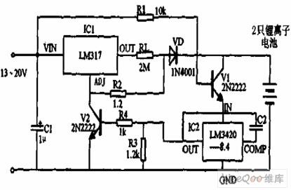 锂离子电池充电器电路原理图