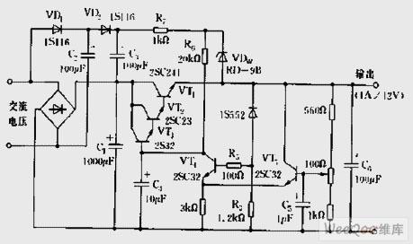 输出1A 12V的实用稳压电源电路图图片