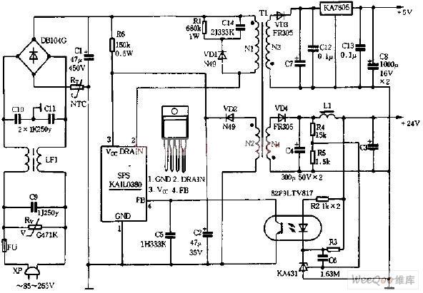 输出1a/12v的实用稳压电源电路图