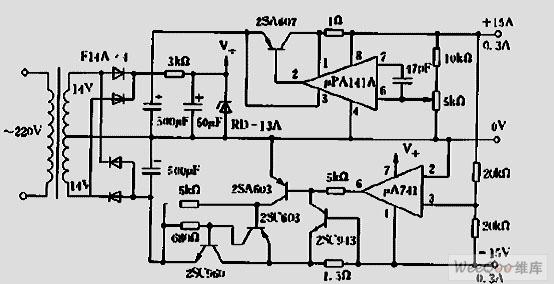 运放构成的跟踪稳压电源电路图