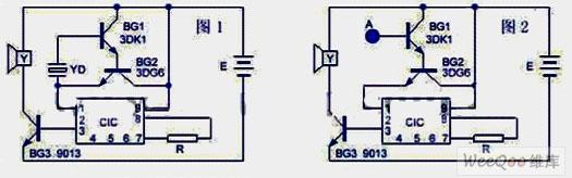 两种无按钮音乐门铃电路图