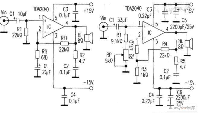 采用TDA2040制作高保真直法流功放电路图