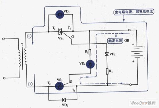 负极性接法,交流电源负半周充电电路