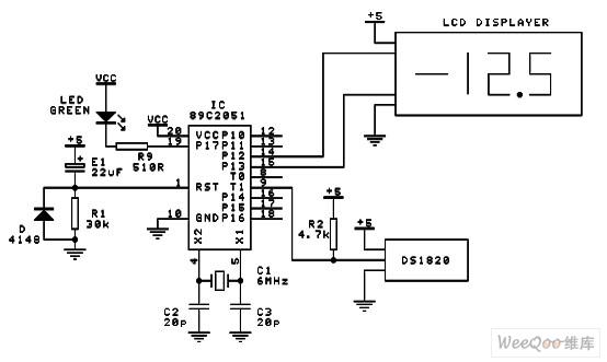 液晶显示的数字式电脑温度计电路