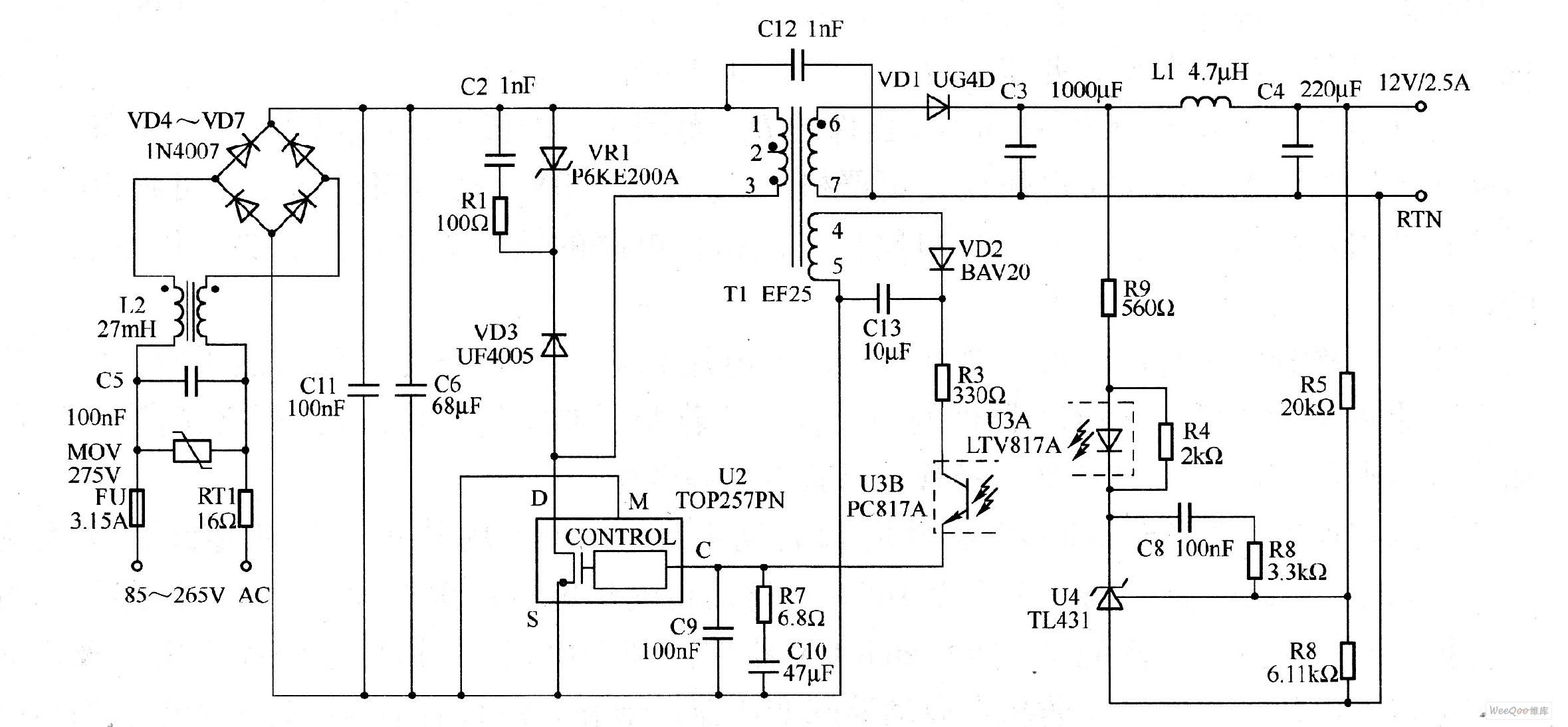 一款30W,12V输出开关电源电路图