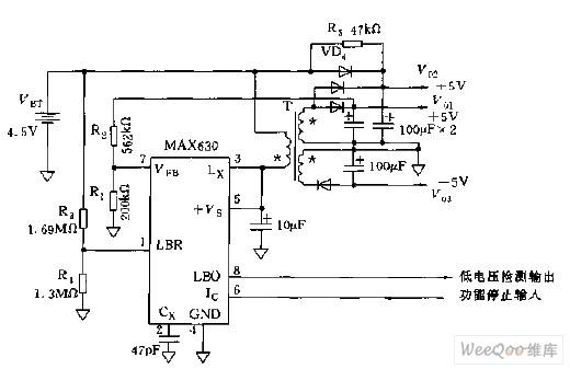 采用回扫变换器构成的微处理机电源电路图