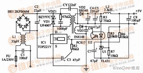 隔离式5V/0.8A输出精密开关电源电路原理图