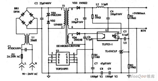 4W/5V开关型稳压电路