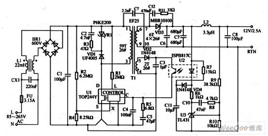 电源电路图   如图为30W/12V输出开关电源电路图。电路具有效率高(最低79%),元件数量少,空载功耗低(115V AC时小于20.0mW,230V AC时小于250mW)等特点,并具有UV、0V关断,自动恢复的热关断和短路保护功能,满足EN55022B和CISPR-22B对EMI标准的要求,在265V AC输入时将过载输出功率限制到额定负载的160%。   该电路设计中要注意以下要点:   (1)设计中应将反射电压限制在90~120V的范围内。   (2)VD3、C6和C7的紧凑布局可提高效率,以确