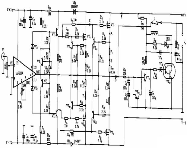 100W直流超甲类功放电路图-简易PWM方式的功率放大电路