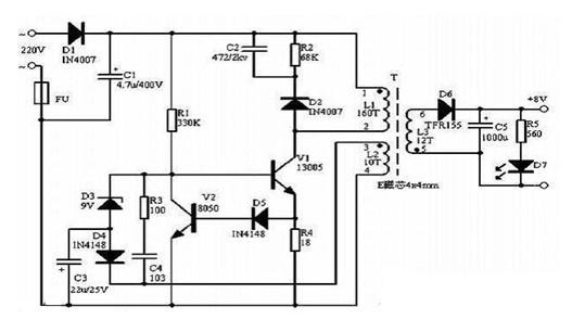 一款简单的开关电源电路图-振铃开关电源改变输出电压电路图图片