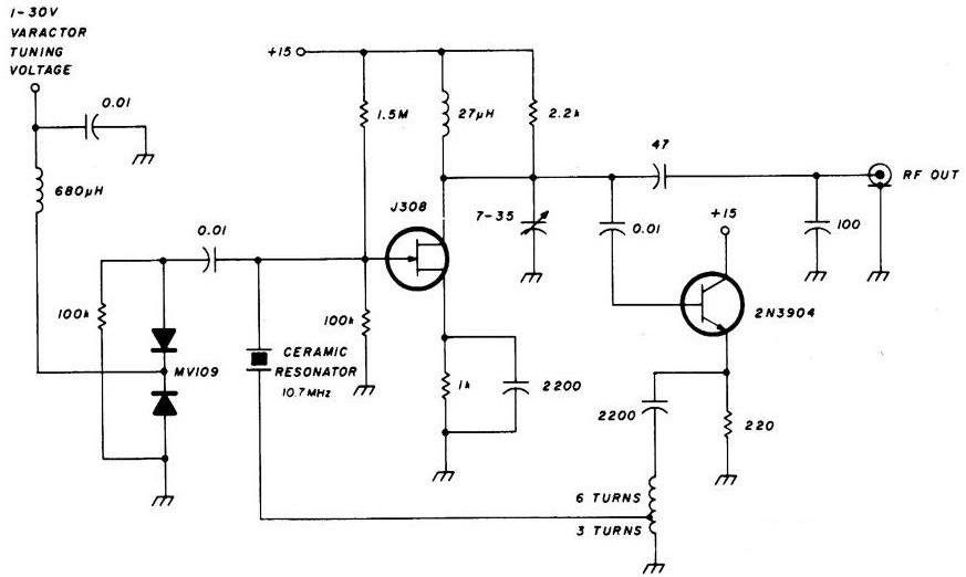 调谐10MHz陶瓷谐振振荡器电路图