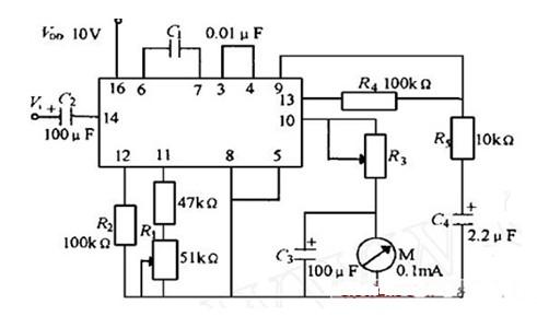 一款CD4046构成的频率计电路图