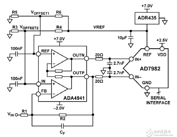 AD7982差分转换单端信号电路图