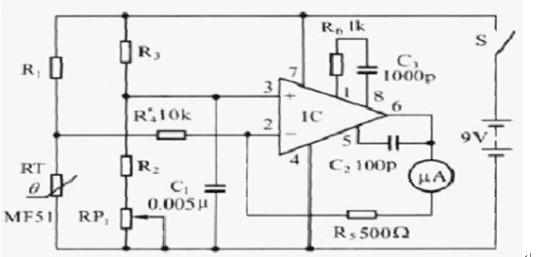 一款多种元器件构成的电子体温计电路图