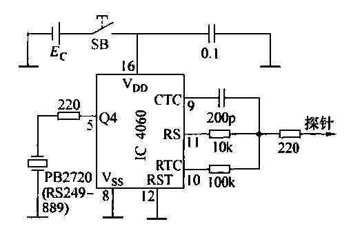 采用单一的探针来测试电缆断裂的电路图