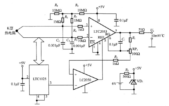 LTC2053热电偶放大电路图