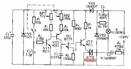 新颖的晶闸管调光灯电路图图片