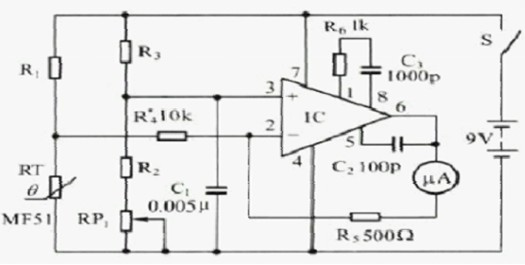 高精度的电子体温计电路图