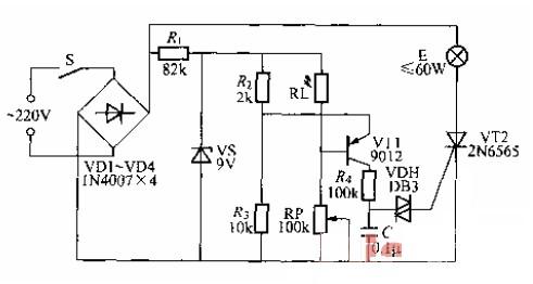 一款新颖的晶闸管调光灯电路图图片