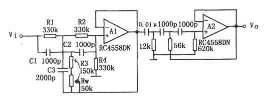 低频段增益下降的带通滤波器电路图