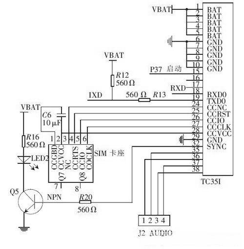 TC35I 与微控制器的电路连接图
