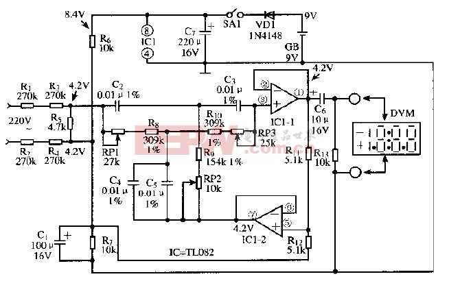 基于TL082芯片的市电谐波测量电路