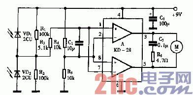 巧用KD-28做光控玩具车原理电路图