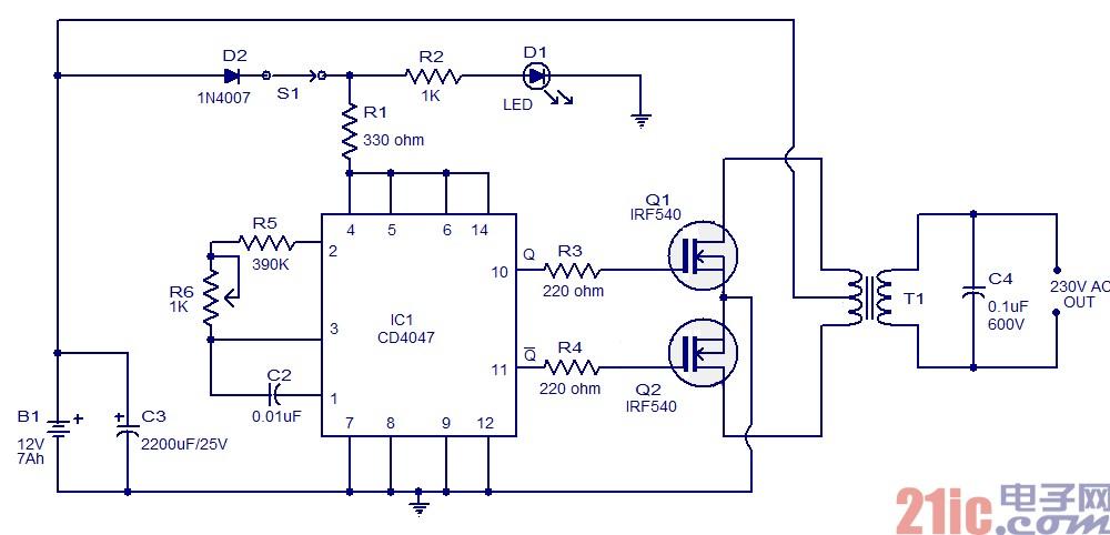 【图】简单100w逆变器电路图设计逆变电源